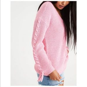 American Eagle Laced Tie-Sleeve V-Neck Women's Sweater Pink